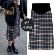 Pregnant women skirt autumn and winter wear plus velvet net red lattice wild long paragraph half-length skirt thick section of the fashion dress