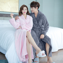 Autumn and winter thickened long robe female winter flannel couple bathrobe mens Coral Velvet Pajamas Big Code home clothes
