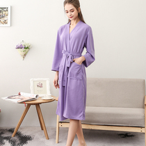 Thin section Waffle bathrobe female long section absorbent SPA dressing gown summer autumn beauty salon hotel bathrobe pajamas