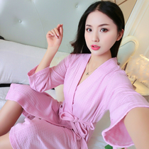 Hotel cotton bathrobe hot spring bathrobe men and women spring and summer thin section cotton couple Waffle beauty salon clothing