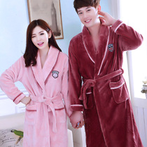 Autumn and winter Fayre velvet couple robe ladies bathrobe coral velvet padded pajamas male home service hot spring bathrobe