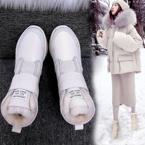 Waterproof non-slip snow boots female 2019 new winter fur one cotton boots wild plus velvet thick leather shoes