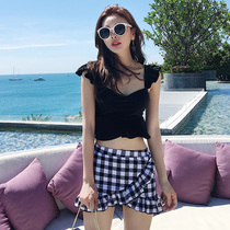 Swimsuit female conservative students split small chest gathered 2019 new swimsuit was thin skirt flat hot spring swimsuit