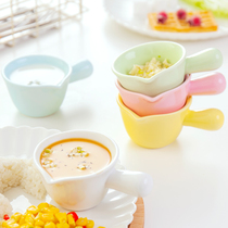 Flavor dish with handle mini ceramic small milk cup pot steak sauce bucket milk pot coffee milk cup glass dessert bowl ins