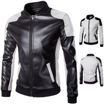 Tide mens racing suits Foreign Trade mens stand-collar motorcycle leather trend black and white spell color large size jacket Jacket male