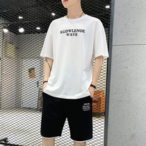 Mens T-shirt set 2019 new beach shorts sub summer casual sports thin tide brand loose 5 5 5 p. pants