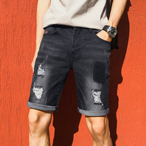 Denim shorts mens 2019 summer new trend fashion hole five pants thin section Summer 5 points mens pants