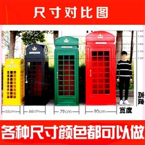 British nostalgic telephone booth wedding outdoor red iron floor retro ornaments studio photography props decoration