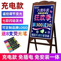 Colorful light-emitting blackboard fluorescent board bar charging commercial luxury stand-up stall night market display promotion allott