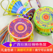 Guangxi Zhuang characteristics embroidery pendants fabric copper drum pattern grand national business gift memory crafts