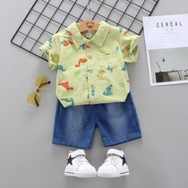 Boys summer short-sleeved suits 01-3 years old half baby summer shirt two-piece set of foreign-gas children summer clothes.