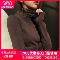 2019 autumn and Winter new turtleneck sweater womens long-sleeved slim thin inner tie shirt T-shirt pile collar tops