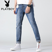 Playboy stretch jeans mens pants slim light jeans mens casual mens pants summer tide
