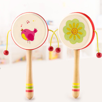 Baby rattle safety 0-1 years old hand grip can bite the girl rattle pendant children toys drum Yao