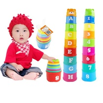 Large baby toddler portable 0-5 years old early education puzzle travel stacked sleeve baby toys portable cup