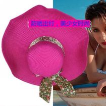 Big straw hat girl summer sun hat sun protection girl big along the hat shade folding straw hat beach hat