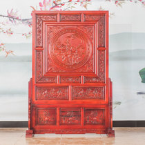Dongyang wood carving solid wood engraving floor screen living room hotel bedroom office partition Guan Phoenix Peony