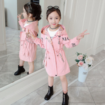 Girls coat jacket spring new Korean version of the Yang Qi in the Big children long section of network red windbreaker spring girl shirt tide