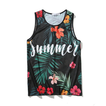 Summer beach mesh vest male loose plant flower printing Hawaii seaside vacation travel sleeveless T-shirt