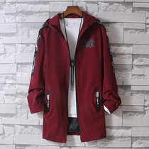 Mens jacket spring and autumn 2020 new Korean version of the trend slim thin tooling Jacket Handsome in the long section of the windbreaker