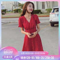Red Wave Point dress female summer French Girl Coffee dress small high waist v collar Hepburn red skirt