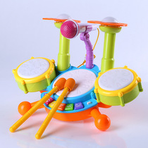 Childrens jazz drum toy rack drum girl baby early teaching puzzle 0-6 years old toy music percussion instrument 3 boys