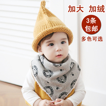 Korean version autumn and winter increase velvet cotton thickened triangle towel baby buckle spit towel baby bib scarf
