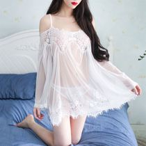 Sexy pajamas erotic clothing female Winter and summer suspenders sexy transparent underwear lace hot adult Sao gauze nightdress