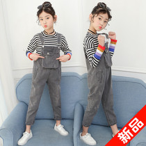 7 girls autumn denim overalls 9 casual loose T 裇 Korean harem pants 8 western nine pants ten-year-old girl
