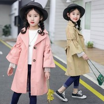 Girls windbreaker spring and autumn in the long section of the 2019 new Korean version of the children in the tide of childrens clothing