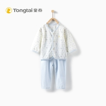 Tong Tai new baby long-sleeved underwear set 3-18 months male and female baby to buckle the upper pants two-piece