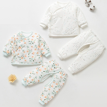 Newborn autumn and winter thin coat 03 months baby warm clothes cotton newborn baby thick cotton suit