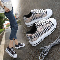 Spring 2019 new Harajuku Korean canvas shoes classic plaid lace running shoes students wild sports shoes