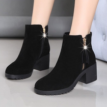 Martin Boots Girl 2018 New autumn winter fashion comfortable round head suede with thick and bare boots short boots womens boots