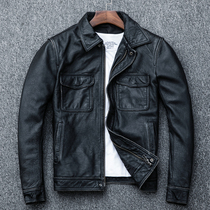 AMI Kabuki first layer of leather retro stone old leather leather mens short paragraph slim motorcycle leather jacket