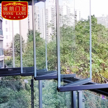Double folding frameless balcony window window open kitchen partition tempered glass window living room floor doors and windows