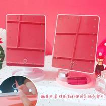 Storage makeup LED light desktop touch screen dormitory student makeup mirror desktop with light girl square