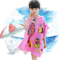 Children can wear bath towel cloak boy cute with cap cartoon cape bathrobe microfibre absorbent water