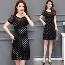 Dot lace stitching slim large size dress summer new wide wife French knee was thin long skirt
