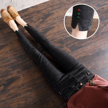Spring High Waist Jeans female nine pants 2019 new Korean version was thin embroidery feet pants pencil long pants