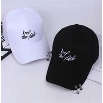 Hat man summer cap alphabet with iron ring trend Street shade Black student baseball cap female Korean edition