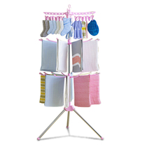 Baby clothes hanger floor-to-ceiling round umbrella type stainless steel baby diaper rack multi-layer towel rack multi-clip sock rack.