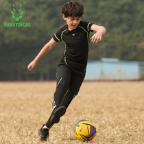 Childrens sports tights suit mens spring and summer short-sleeved quick-drying clothes basketball football stretch training suit three-piece suit