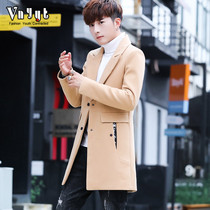 Mens personality in the long section of the windbreaker young spring and autumn handsome self-cultivation woolen coat Tide brand woolen jacket