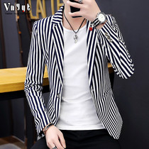 Mens Inverness striped suit man 2019 hairdresser New suit Korean edition casual top personality Slimming jacket