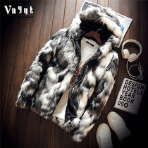 Mens personalized camouflage fur coat Tide brand plus cashmere leather non-mainstream short jacket mink fur coat winter