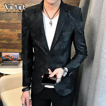 Mens personality suit male youth Korean slim suit trend night Small suit handsome jacket casual jacket