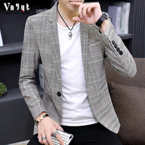 Mens simple plaid suit male youth spring Inverness suit trend casual top Korean version slimming jacket