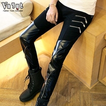 Mens personality leather pants social small group Autumn winter tight motorcycle long pants non-mainstream locomotive pants pencil pants