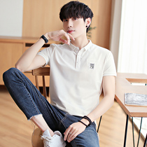Mens T-shirt short-sleeved cotton summer white slim collar mens solid color polo shirt lapel short-sleeved T-shirt male